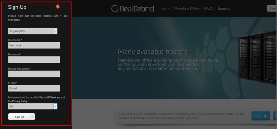 Real Debrid signup form