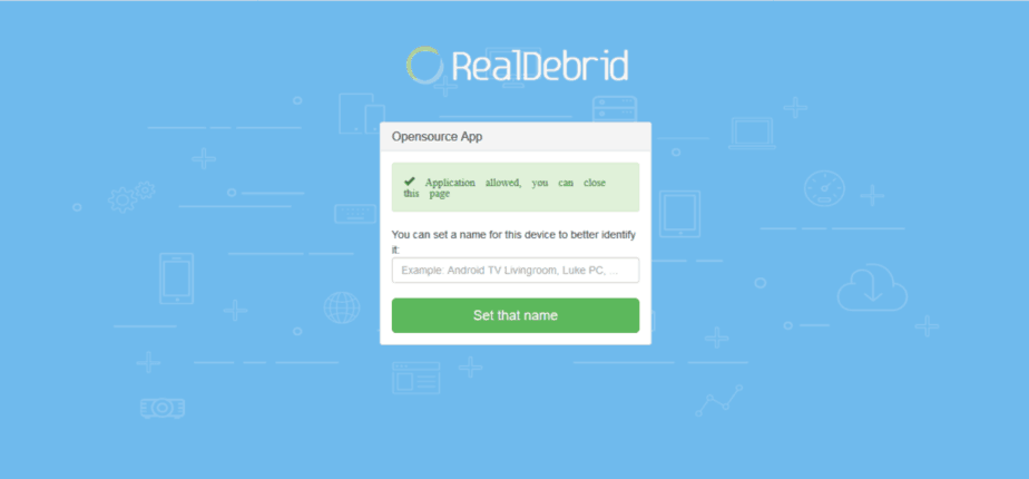 Real Debrid activation page
