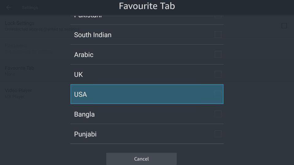 favorite tab screen